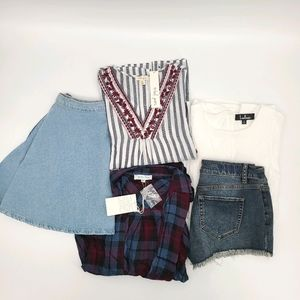 Bundle Top Shorts and Mini Skater Skirt Size Small